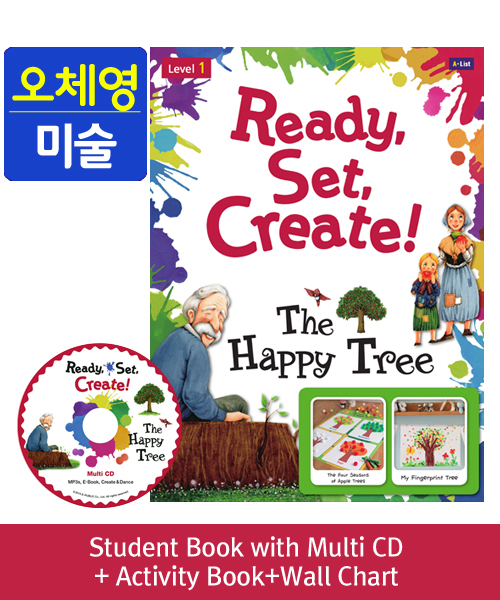 [오체영] Ready, Set, Create! 1 The Happy Tree Pack (Studentbook + Multi CD + Activitybook + Wall Chart )