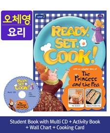 [오체영] Ready, Set, Cook! 2 The Princess and the Pea Pack (Studentbook + Multi CD + Activitybook + Wall Chart + Cooking Card)